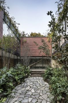 Hector Esrawe's design studio has completed its first residence – a red-brick house in Mexico City that encloses a lush courtyard at its centre. Contemporary Architecture, Landscape Architecture, Green Architecture, Residential Architecture, Interior Natural, Archdaily Mexico, Internal Courtyard, Brick Courtyard, Courtyard Design