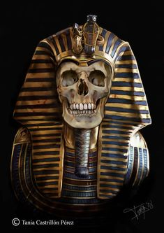 Faraon Art Print by Thanya - X-Small Egyptian Drawings, Egyptian Art, Osiris Tattoo, Egyptian Tattoo Sleeve, Ancient Egypt Art, Egypt Culture, Skull Pictures, Skull Artwork, Egyptian Goddess