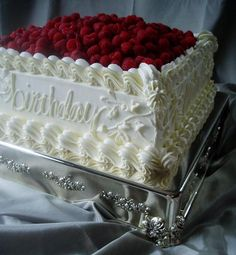 """14"""" Square Lemon-Raspberry Cake. Michael Fairley's 65th Birthday. Wentworth Country Club. May 2008."""
