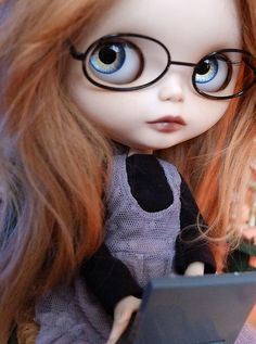 blythe doll with glasses, fashion and cool