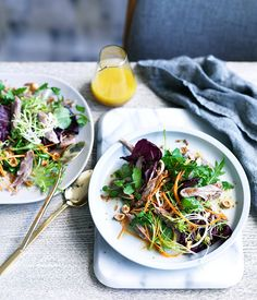 Restaurant South on Albany's confit duck salad with honey and hazelnut dressing :: Gourmet Traveller