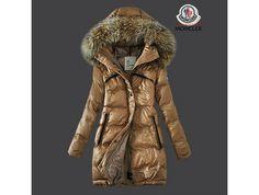 sale Moncler Damen Chic Khaki Lange Daunen mantel Pelz Kragen 81CM sale online shop