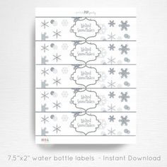 Melted Snowflakes Birthday Party Water Bottle Labels Instant Download Silver Grey Winter Wonderland  This is an instant download file that is not