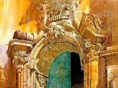 Benedetto Poma Chiesa di S. Giorgio Modica / Sicilia 50x60 Acrilico su Tela