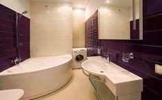 <p>Автор проекта: Вера Белова</p> <p>Угловая ванна в санузле подчеркивает общую геометрию интерьера.</p>