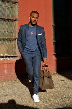 Sabir M. Peele of @MensStylePro wearing @DragonInside Blue Donegal Tweed Suit & @LightningBoltUS Sweat Shirt  Full feature here - http://mensstylepro.com/2014/12/16/winter-essentials-the-blue-donegal-tweed-suit/  #menswear #streetstyle #suit @adidas neo sneakers
