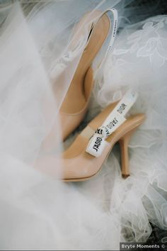 Glam wedding shoes - elegant, nude wedding shoes - See more details from this winter wedding on WeddingWire! {Bryte Moments}