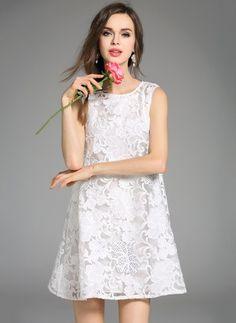 978273225e3d White Cotton Dress White Cotton Polyester Solid Sleeveless Above Knee  Dresses