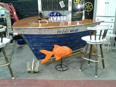 Boat Cocktail Bar from Black Dog Salvage—when our boar wears out we can turn it in to this! Lake Decor, Coastal Decor, Boot Dekor, Boat Furniture, Furniture Ideas, Black Dog Salvage, Deco Cafe, Deco Marine, Old Boats