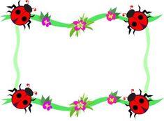 Whimsical Ladybug Frame Page Decoration Royalty Free Clipart Image