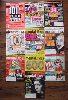 MENTAL FLOSS Magazine LOT of 10 Educational 2014/2016 Great for Homeschooling