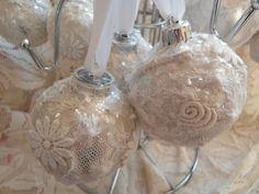 Nostalgia at the Stone House - lace covered ornaments tutorial