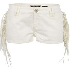 White Denim Tassel Shorts