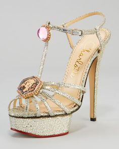 Charlotte Olympia Leading Lady Glitter Platform Sandal, Silver - Neiman Marcus