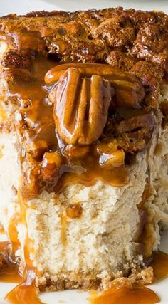Brown Sugar Pecan Pie Cheesecake ~ I've taken two of the best desserts out there and combined them into one knock-out recipe! It is rich, decadent and full of delicious caramel flavor! Pie Recipes, Sweet Recipes, Dessert Recipes, Cooking Recipes, Recipies, Banana Recipes, Southern Food Recipes, Southern Desserts, Pecan Recipes