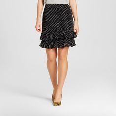 Women's Layered Ruffle Skirt Black Polka Dot 14 - Who What Wear