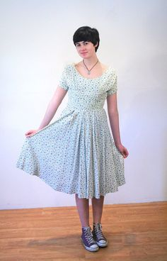 Sweetman Park 50s Dress M Floral Cotton Day by MorningGlorious