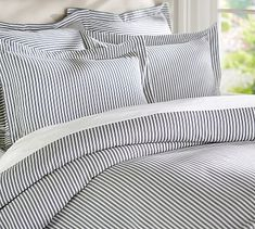 Thatcher Ticking Stripe Duvet Cover & Sham Pottery Barn - Discover home design ideas, furniture, browse photos and plan projects at HG Design Ideas - connecting homeowners with the latest trends in home design & remodeling Striped Bedding, Ticking Stripe, Blue Bedding, Bedding Sets, Blue Pottery, Pottery Barn, Amazing Decor, Blue Quilts, My New Room
