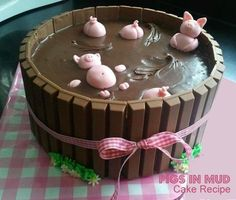 Pigs in Mud Kitkat Cake (Free Recipe). Fun cake to make this weekend with/for the kids.... This was a Birthday Cake ... but there's no need to wait for a birthday, is there?! We can just have fun making | eating this!