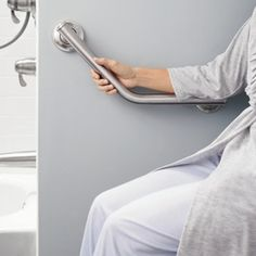 Having the bar curve up so one standing from toilet, something to hold onto.just an idea Moen Home Care SecureMount Angled Grab Bar Ada Bathroom, Handicap Bathroom, Bathroom Safety, Bathroom Red, Small Bathroom, Handicap Toilet, Bathroom Ideas, Disabled Bathroom, Handicap Accessible Home