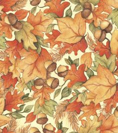 Shop Autumn Inspirations Susan Winget Leaf Acorn Toss 2 Fabric & Holiday Fabric at Joann.com