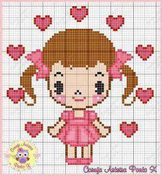 Dinha Ponto Cruz: Gráficos para meninas ponto cruz Butterfly Cross Stitch, Cross Stitch Baby, Cross Stitch Samplers, Cross Stitch Charts, Cross Stitch Designs, Cross Stitching, Cross Stitch Patterns, Loom Patterns, Craft Patterns