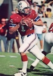 Steve Grogan 1975-1990. Grogan was a model of toughness and longevity, playing in 149 games over his 16-year playing career. Led the 1985 team to the Super Bowl.  The Bears crushed them.
