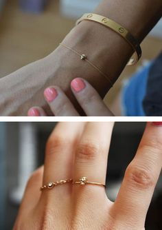 Thin rings & Cartier bracelet. My next purchase is that bracelet & ring with the tiny bling!