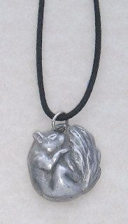 Sleeping Squirrel Pewter Pendant Pagan Wiccan gift by FirwelCrafts