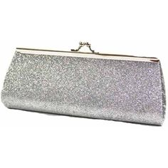 Silver Glitter Twist Lock Small Clutch Handbag ($11) ❤ liked on Polyvore featuring bags, handbags, clutches, silver, evening clutches, cocktail purse, party purse, silver glitter purse and party clutches