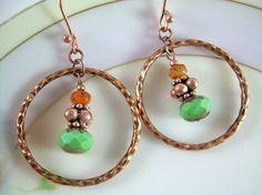 Mints - Hammered Copper Hoop Earrings on Etsy!
