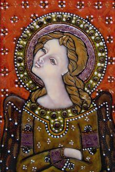 Larisa Solomnikova: golden light 2008  8x10cm  schilderemaille, Koper Russian enamel art in 2009 at the Museum of flat glass and enamel art Ravenstein