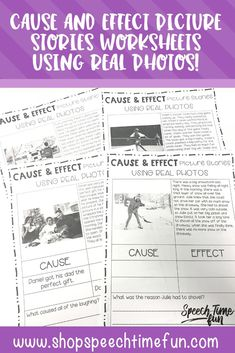 Cause and Effect Picture Stories Worksheets - no prep way to build critical thinking skills with your older speech and language students. Differentiated to help you meet the needs of your students! Perfect for your students that are struggling readers an need visual supports.