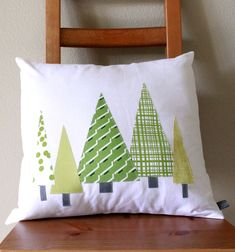 Modern Christmas PILLOW COVER - Holiday Tree Forest in Green & These pillow covers are handmade at Rustic Honey with a medium ... pillowsntoast.com