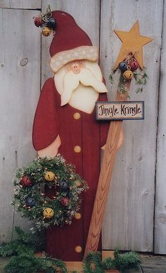 Santa Yard Stake -- Decorative Woodcraft & Tole Painting Pattern Packets by Heidi Markish Designs Mehr Christmas Yard Art, Christmas Wood Crafts, Noel Christmas, Primitive Christmas, Christmas Signs, Outdoor Christmas, Rustic Christmas, Christmas Projects, Holiday Crafts