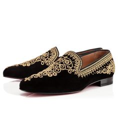 Christian Louboutin Mamounia Flat Black Gold Suede Mens-Loafers
