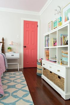 girls bedroom bookshelf toy chest storage, girl bedroom decor, playroom decor As part of our little girl's room makeover (well, update) we found an antique wooden spool bed online to bring some age to her lovely little bedroom. Little Girl Bedrooms, Big Girl Rooms, Kids Rooms, Kid Bedrooms, Paint For Girls Room, Young Girls Bedrooms, Pastel Girls Room, Teenage Bedrooms, Painted Closet