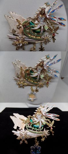 Pins and Brooches 50677: Kirks Folly Delphine Fairy Polar Bear Express Sleigh Pin ~ New Release! BUY IT NOW ONLY: $89.24