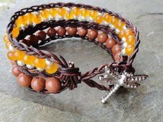 Orange Beaded Leather Wrap Bracelet, Leather Cuff Bracelet Orange Jade and Goldstone, Braided Leather Bohemian Bracelet, Bohemian Jewelry