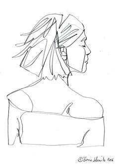 """""""profil perdu 43″, continuous line drawing by Boris Schmitz"""