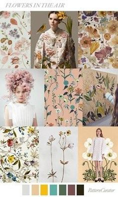 Flowers will still have their place in Weddings, just not necessarily on pedestals, centrepieces and bouquets. Wedding trends 2018 flowers in the air trend ss 2018 Color 2017, Color Trends 2018, Color Patterns, Print Patterns, Floral Patterns, Color Schemes, Palettes Color, Floral Illustration, Fashion Forecasting