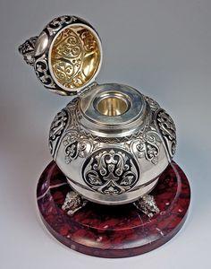 Faberge silver inkwell circa 1899