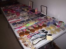 LARGE JOB LOT OF CHILDRENS NEW JEWELLERY  NECKLACES BRACELETS RINGS HAIR CLIPS A
