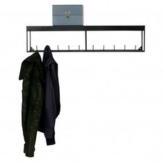 Woood Meert wardrobe with shelf space 20 x made of metal, black - Wardrobe Hallway Storage, Living Room Storage, Innovation Living, Black Wardrobe, Wall Mounted Coat Rack, Coat Hooks, House Doctor, Wardrobe Rack, Plank