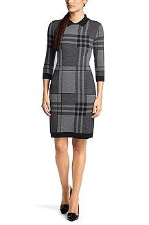 Hugo Boss Knit dress 'F5046' in a new wool blend, Patterned