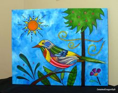 original acrylic painting blue art bird painting colorful