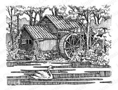 Water Mill at IOI rubber stamps