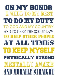 Scout Oath: to print for Cub Scouts as they learn the Oath.