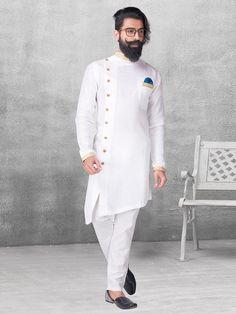 White silk kurta suit for festive function - G3-MKS0540   G3fashion.com