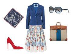 Sukně, Temperley London, prodává Obsession; modré sako, F&F; hedvábný šátek,...